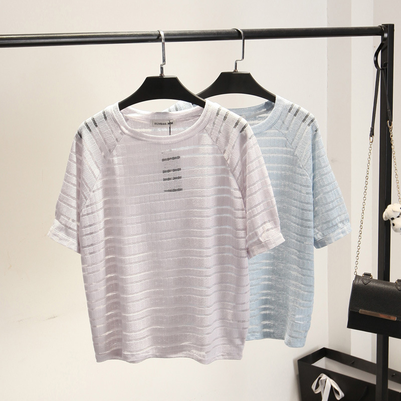 Women Sexy Hollow Stripes T-shirt Short-sleeved Pullover Lady Simple Loose Shirt Casual Tees White Blue Small fresh Tops