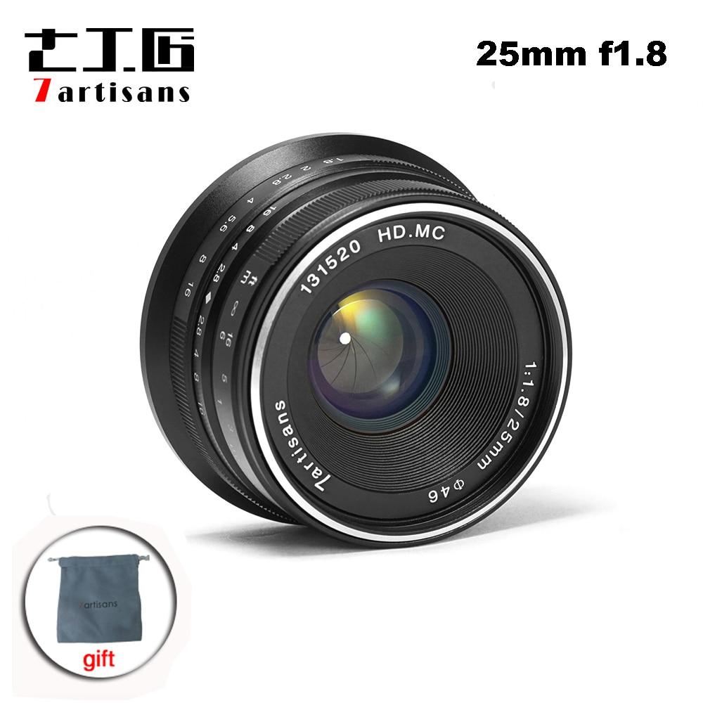 7 artisans 25mm F1.8 objectif principal mise au point manuelle pour monture E Canon EOS-M Mout Micro 4/3 caméras sony a6000 A7 A7II A7R PK yongnuo