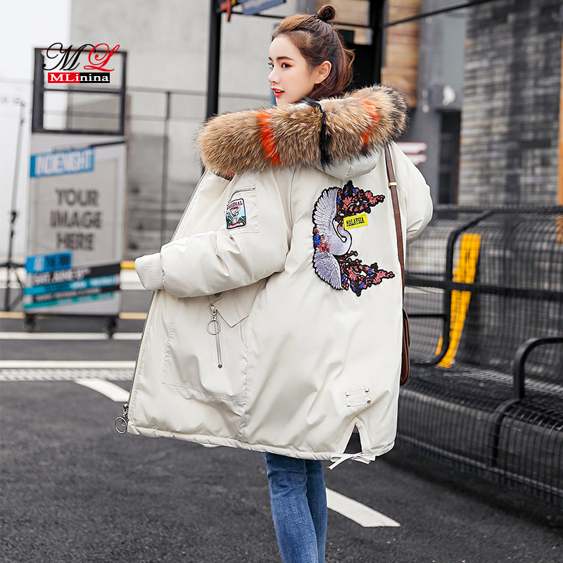 Parkas Hooded Warm Real Raccoon Fur Thicken Woman Down Jacket Winter Coat Women Cotton Coats Female Snow Wear