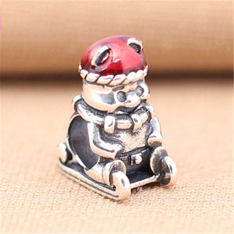 Brave 925 Sterling Silver Bead Cute Sled Bear Charm Fit Original Pandora Bracelets Bangles For Women Diy Europe Jewelry Chrismas Gift