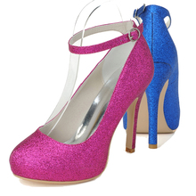Sparkling woman glitter hotpink blue ankle strap high heel party prom cocktail dress shoes night club pumps inside platform
