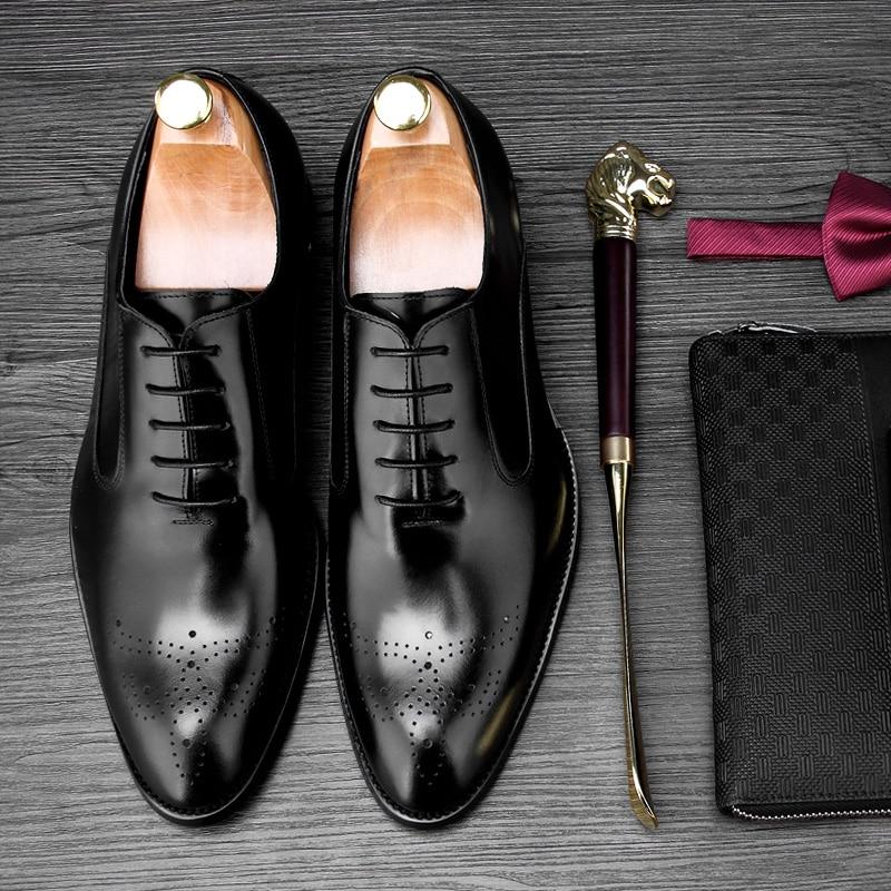 2018 Oxford Dos Negócio Mão Ternos À Homens black Versão Couro Brown Com Esculpida Européia Novos Sapatos Inglaterra De PwIx1FqPr4