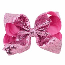 8 Sequin Rainbow  siwa Bow With Hair Clip For Girls Kids Handmade Boutique Knot Jumbo Hair Bow Hairgrips Hair Accessories цена