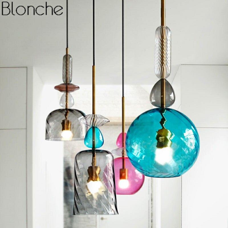 Luzes Pingente De Vidro Manchado nórdico Moderno LED Lâmpada Pendurada Doces E27 Luminárias Luminária para Sala De Jantar Cozinha Decoração de Casa