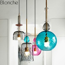 Nordic Stained Glass Pendant Lights Modern LED Hanging Lamp Candy Luminaire for Dining Room Kitchen Home Decor Fixtures E27 mediterranean tiffany pendant lights stained glass lamp light for kitchen home decor lighting fixtures vintage led luminaire