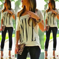 Women Fashion Summer Casual Off Shoulder LOVE Letter Print Loose T-shirt Top