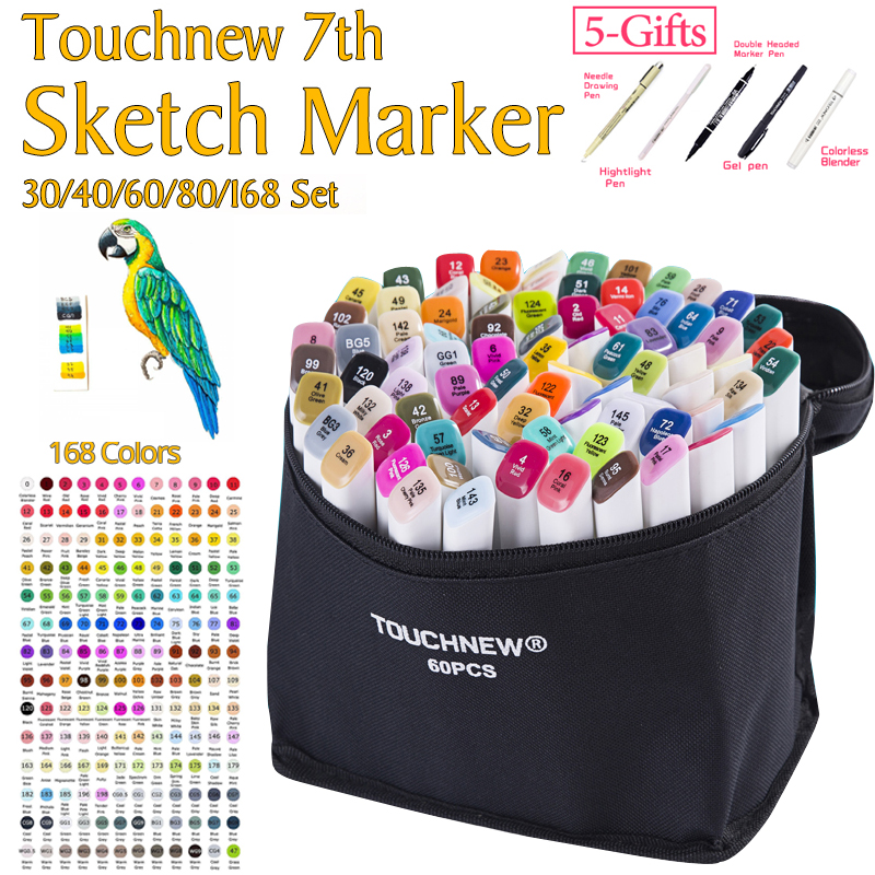 TOUCHNEW 7th 30 40 60 80Colors Artist Double Headed Sketch Marker Pen Alcohol Based Manga Art Markers for School Supplies touchnew 7th 30 40 60 80 colors artist dual head art marker set sketch marker pen for designers drawing manga art supplie