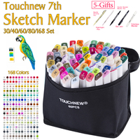 TOUCHNEW 7th 30 40 60 80Colors Artist Double Headed Sketch Marker Pen Alcohol Based Manga Art Markers for School Supplies