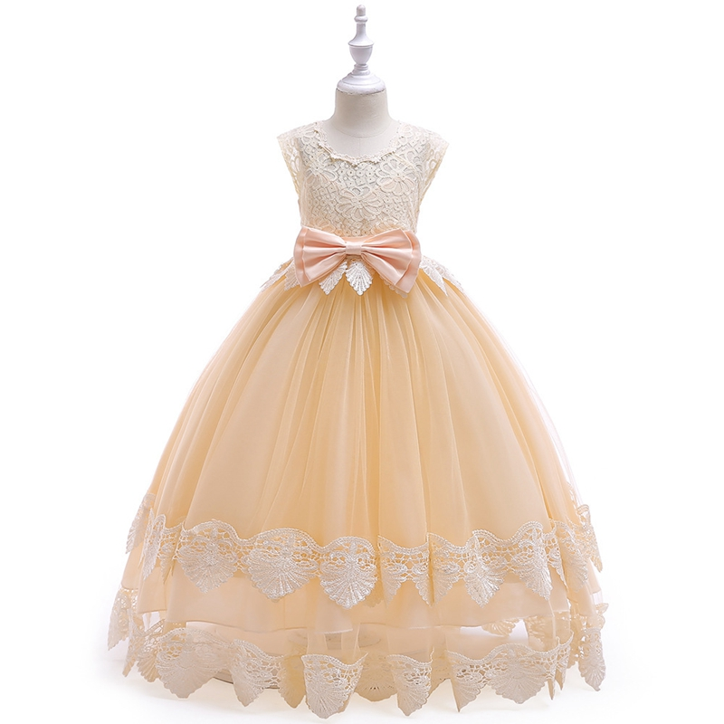 Childrens dress performance bow flying sleeves printed lace princess dresss flower girl wedding dressesChildrens dress performance bow flying sleeves printed lace princess dresss flower girl wedding dresses