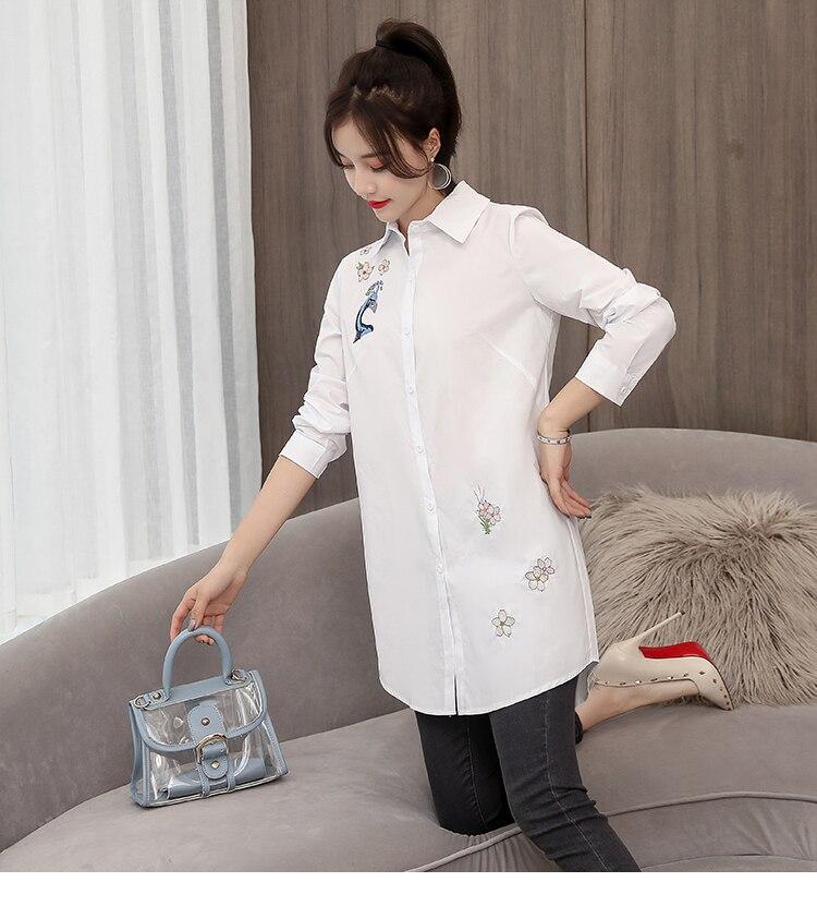 longo algodão blusa branca manga completa camisa