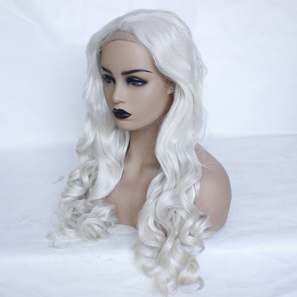 Fashion Platinum Blonde Synthetic Lace Front Wigs Heat Resistant Long Loose Body Wave White Blonde Wigs Cosplay for White Women-2