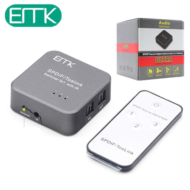 EMK Portable Mini Optical Audio Switcher SPDIF TOSLINK Digital Optical Audio 3x1 Switcher 3 Inputs 1 Output with IR Remote