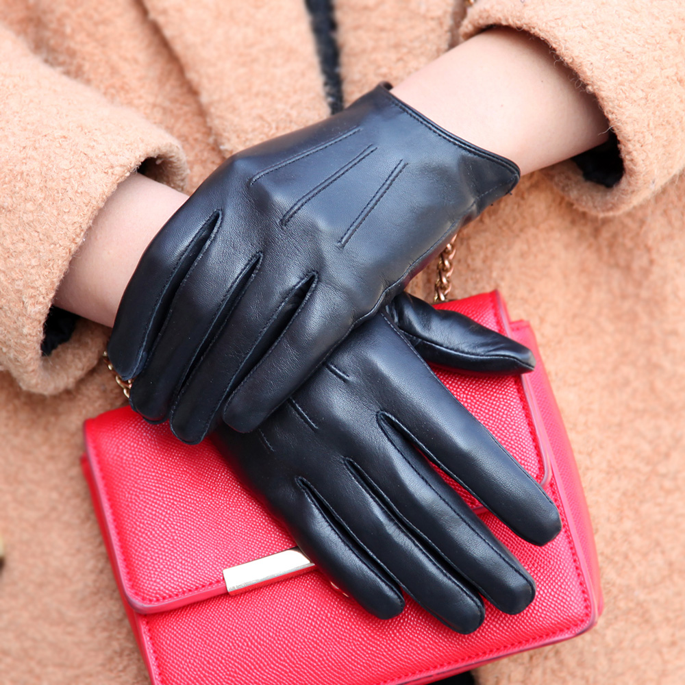 Touchscreen Genuine Leather Gloves Female Thin Style Plus Velvet Keep Warm Driving Short Style Thicken Sheepskin Gloves  L181