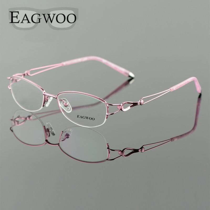 Image 2 - Metel Alloy  Eyeglasses Half Rim Optical Frame Prescription Women Spectacle Reading Myopia Flower Eye Glasses Purple Blue  52223-in Women's Eyewear Frames from Apparel Accessories