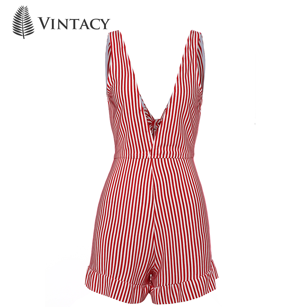 Vintacy women jumpsuits 2018 summer red stripe color block girl high waist backless slim short playsuits sexy sleeveless V neck