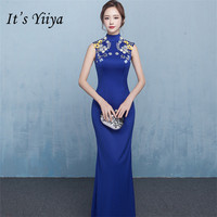 It's YiiYa New Sequined Cheongsam Prom Gowns Elegant Pure Color Skinny Trumpet Formal Dresses H121