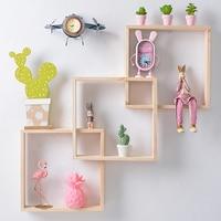 Nordic Geometric Wooden Wall Shelf Decorative Shelves Creative Decoration Crafts Wall Decoration Combination Rack Floating Shelf