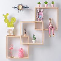 Nordic Geometric Wooden Wall Shelf Decorative Shelves Creative Decoration Crafts Wall Decoration Combination Rack Floating Shelf