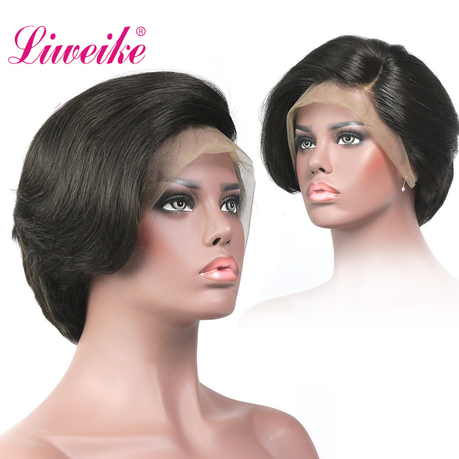 Liweike Full Lace Straight Short Bob Wigs Remy 100 Human Hair Brazilian 1b Color Glueless Wig