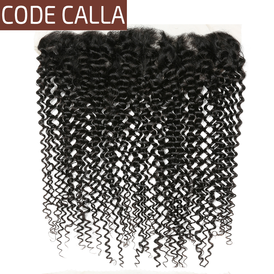 Code Calla Brazilian afro Kinky Curly 13 4 Ear to Ear Lace Frontal Free Part Raw