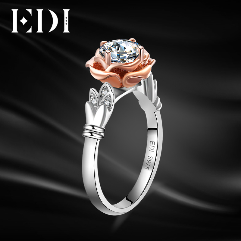 EDI Unique Swan Rose Flower 10k Multi-tone Gold Wedding Ring Round Cut Simulated Diamond Wing Shape Engagement Ring Jewelry spanish two tone double potentiometer 10k 50k