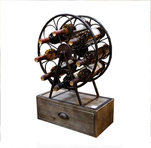 Rustic Metal Wood Wine Rack Countertop Wine Rack Free Standing