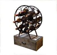Rustic Metal & Wood Wine Rack Countertop Wine Rack Free Standing Wine Rack Cork Holder