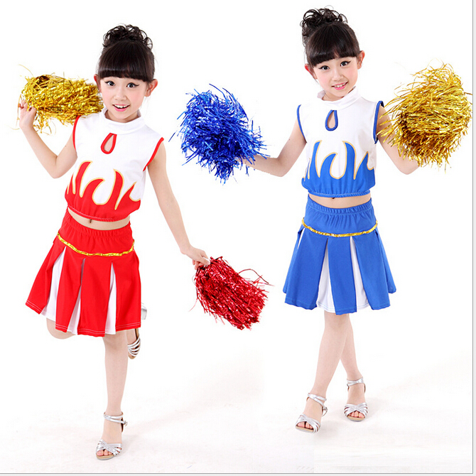 Free shipping,children school game party girl cheerleading cheerleader dance costume dress skirt Uniform with pom pom