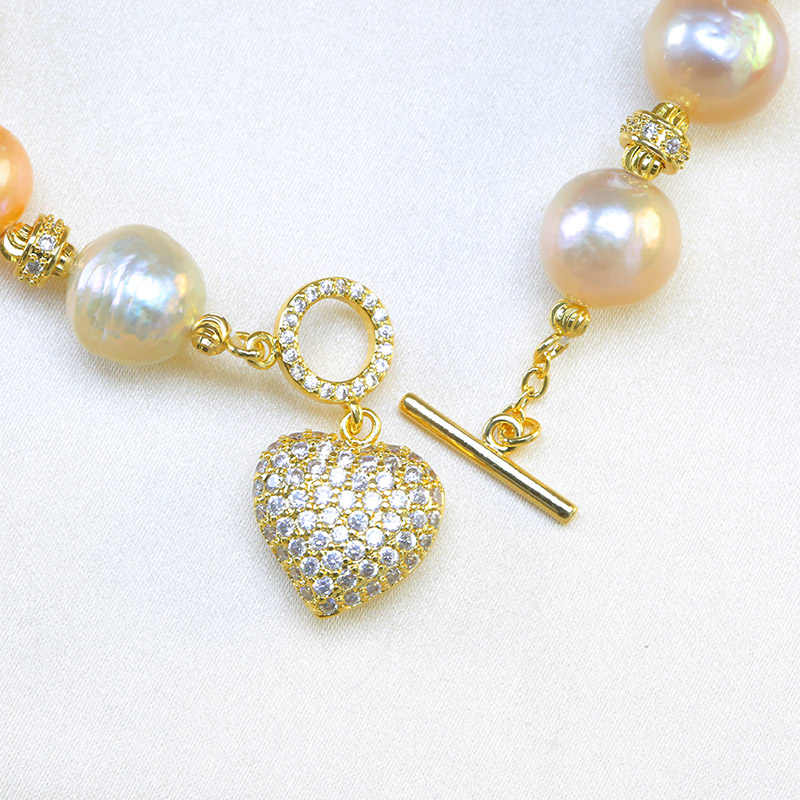 BaroqueOnly Natural Freshwater baroque Pearl Bracelets HEART pendant mixed-colour irregular Pearl Jewelry HF