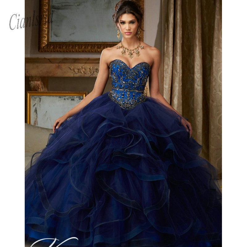 Vestidos Debutante Royal Blue Beaidng Sweet 16 Dresses Quinceanera Dresses Ball Gown For Birthday Paty Vestido Para 15 Anos