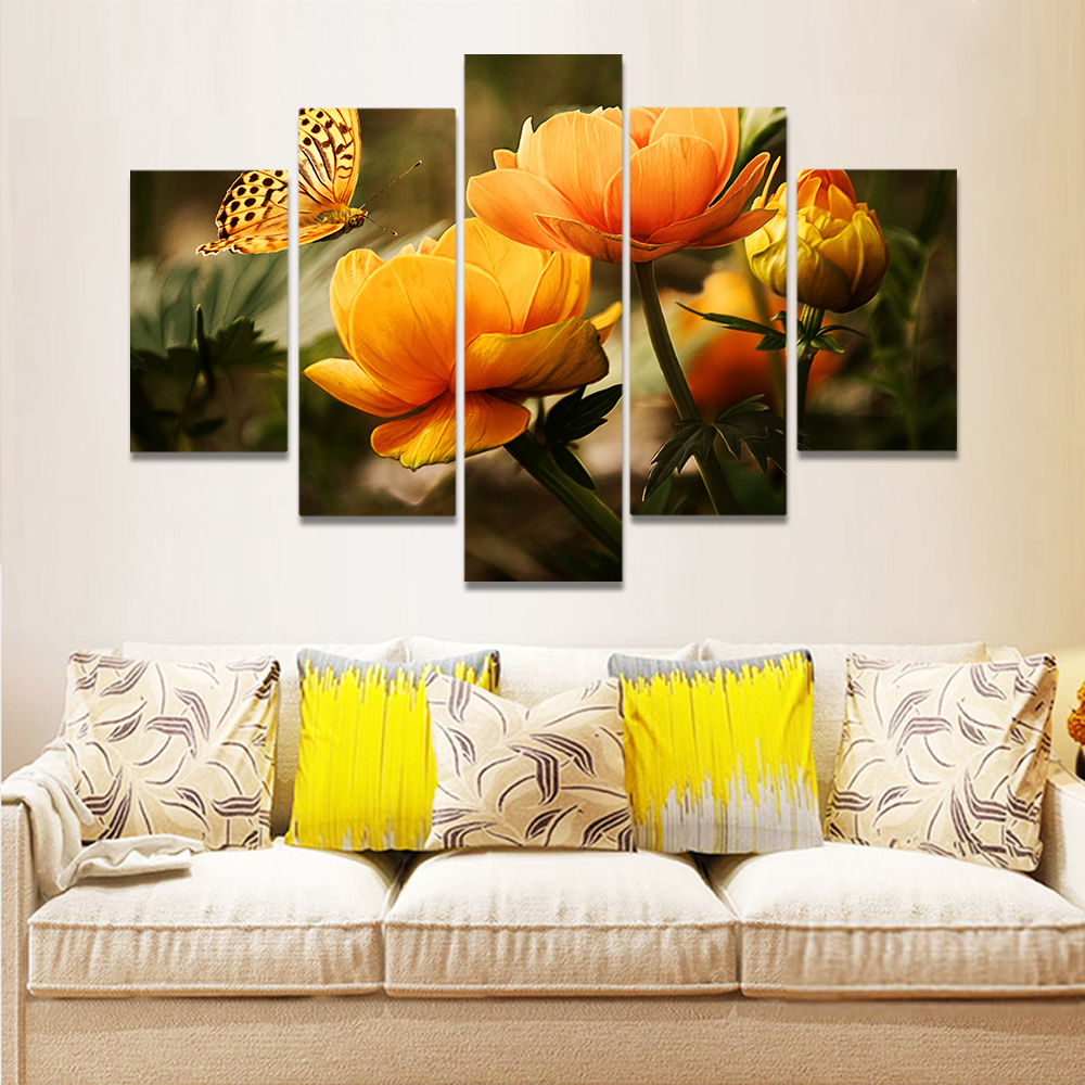 Unframed Canvas Art Painting Butterfly Collecting Honey Tulip Prints Wall Pictures For Living Room Wall Art Decoration