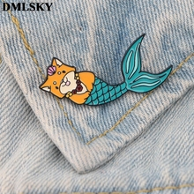 DMLSKY Cartoon dog mermaid Pins Enamel and Brooches Women Men Lapel Pin Backpack Badge Tie Hat Jewelry M3708