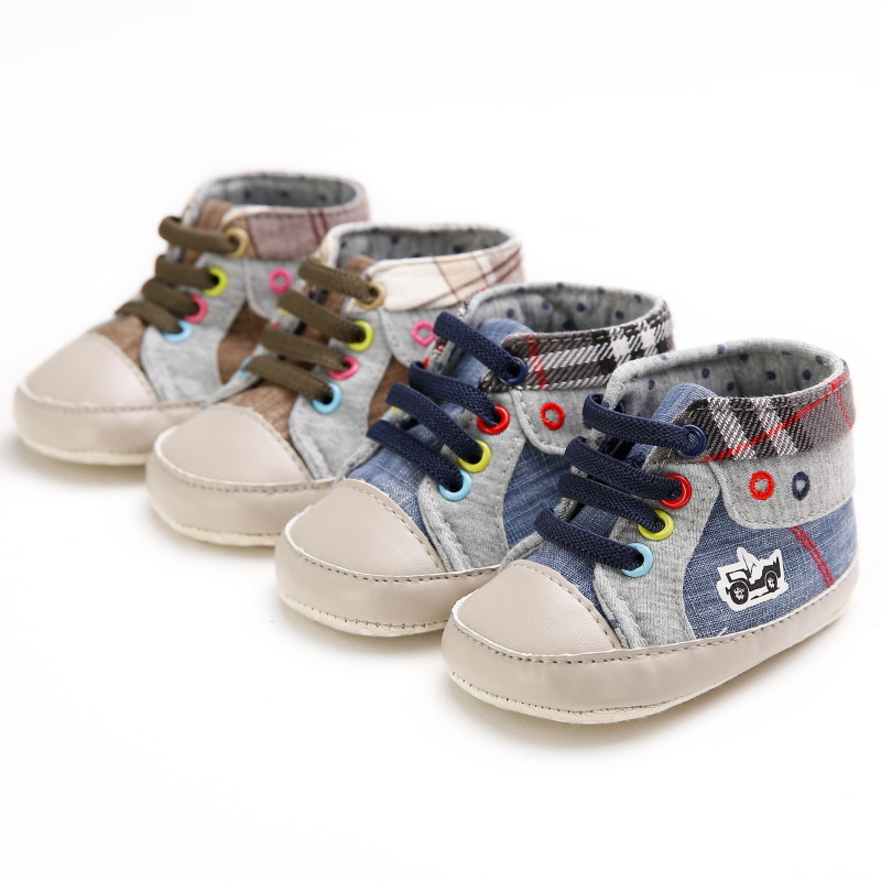 Casual Hot Sale Toddler Baby Shoes Soft Sole Lace Up Baby Moccasins First Walkers Cowboy Infant Newborn Boots Canvas Shoes