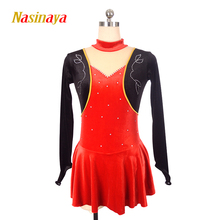 customized velvet ice figure skating dress rhythmic gymnastics rose red adult child girl show skirt competition rhinestone customized costume ice figure skating dress gymnastics competition white adult child performance blue rhinestone sleeveless