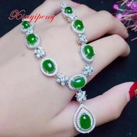 Xin yi peng 925 silver inlaid natural jade necklace Women necklace fashion and generous