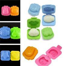 2Pcs Boiled Egg Mold Cute Cartoon 3D Ring Mould Bento Maker Cutter Decorating Tool