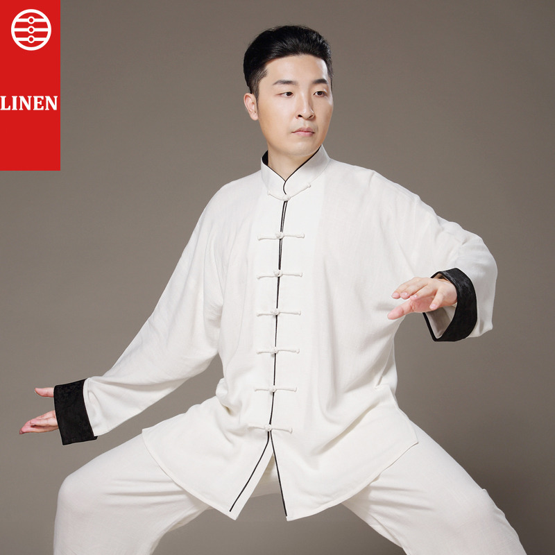 Linen Taiji Clothing Kung Fu Uniform Martial Arts Tai Chi Suits Chinese Tang Dress Shirt+Pants Tai Chi Clothing cotton linen men s yoga suits long sleeved taiji lay clothes plus size breathable meditation martial arts performance clothing