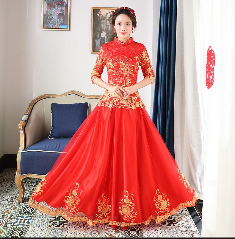 High quality red women chinese traditional dress red for Chinese style wedding dress