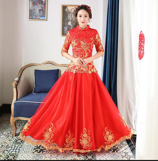 High quality Red Women Chinese Traditional Dress Red Bridal Wedding ...