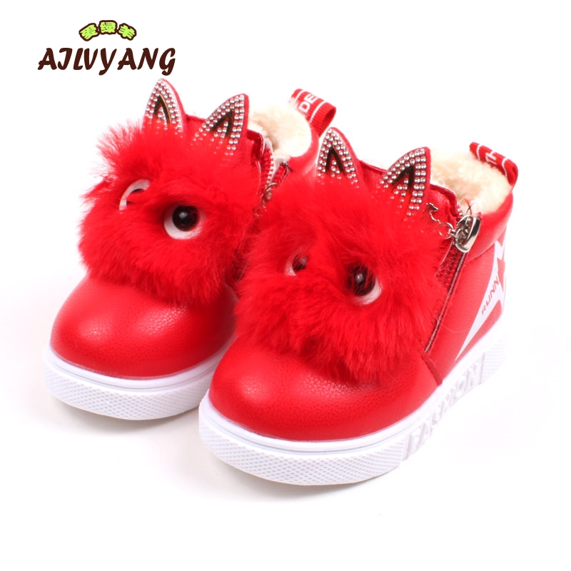 2018 Winter New Childrens Cotton Boots Baby Boys Boots Girls Baby Thick Warm Snow Cotton Shoes Toddler Kids Cartoon Fur Shoes