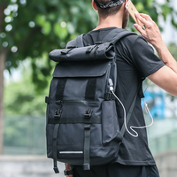 Backpack Male Trend Roll Cover Riding Backpack Large Capacity Travel Mountaineering bag Outdoor Leisure Sports Student Bag