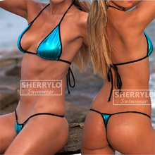 Bikinis Foil Squares Mini Micro Euro Style Extreme G-String Bikini Triangle Top Thong Exotic Dancewear Stripper Swimsuit Women extreme minimal coverage micro bikini g string mini bikinis set 2018 exotic tiny thong biquini women swimwear female swimsuit
