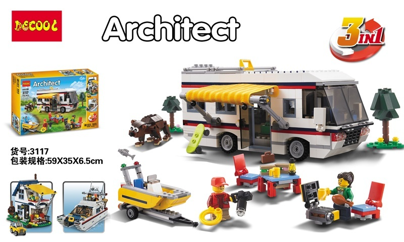 New decool 3117 Architect Vacation camping car Toy building blocks 3in1 yacht villa 31052 gift 792pcs CREATOR boy Assembled decool 3116 roaring power architect 3 in 1 dragon building bricks blocks new year gift toys for children model car lepin 31024