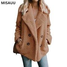 MISAUU New Fashion Autumn Fuzzy Faux Fur Teddy Bear Coat Jacket Women Winter Female Long Sleeve Pocket Plus Size