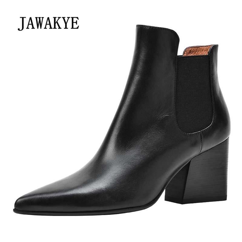 2018 Newest Chic Ankle Boots Woman Pointed Toe Real Leather High Heel Boots Women Fashion Chelsea Boots 2017 newest stars do old boots woman pointed toe black real leather high heel martin boots women fashion chelsea boots