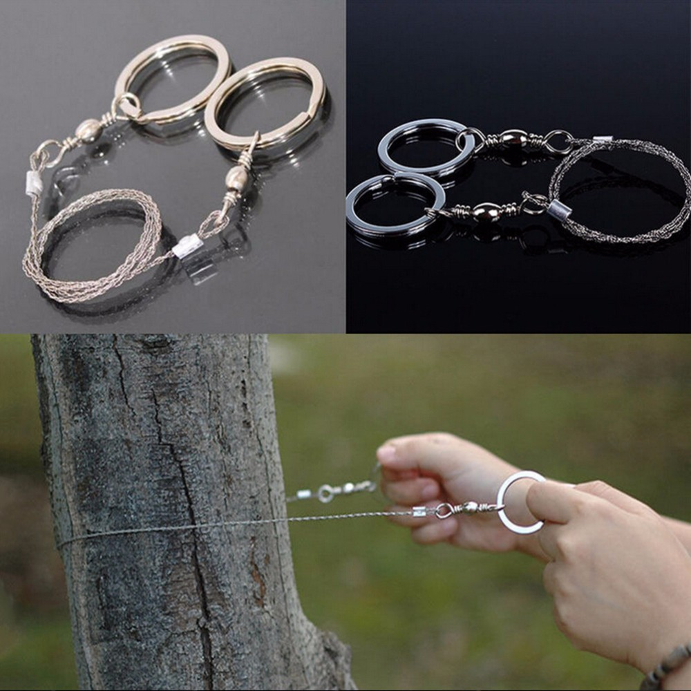1Pc Outdoor Camping Hiking Manual Hand Steel Rope Chain Saw Portable Practic  ^p