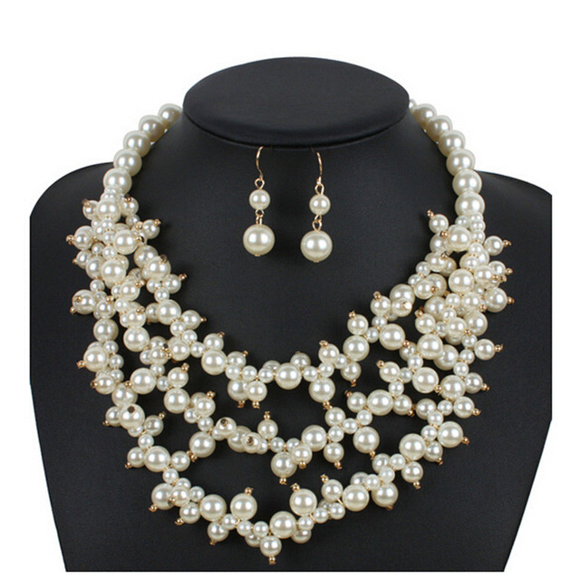 2018 New Fashion Wedding Jewelry Necklace Set Cream Pearl White