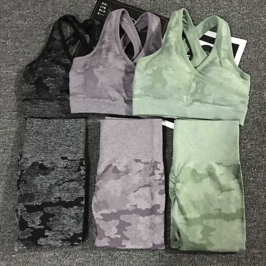 Camo Seamless Yoga Set Women Fitness Clothing Booty Yoga Leggings+High Impact Sport Bra 2 Pcs Sports Suits Women Gym Tracksuit