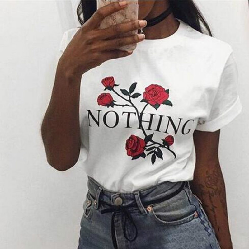 Nothing Letter Rose Print Female   T     Shirt   Summer Short Sleeve Casual O-neck Tee Tops Camisetas Mujer Summer Cothing
