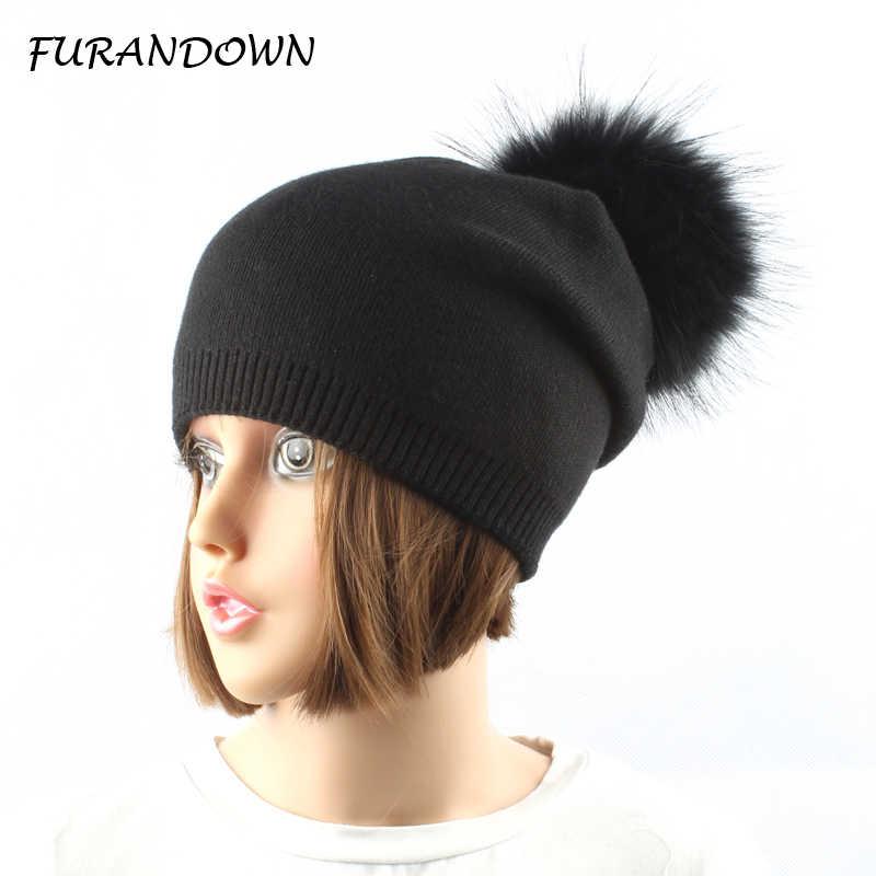 Gorro de malha de lã de inverno feminino gorro de pompom de pele de raposa natural pompons chapéu de cor sólida